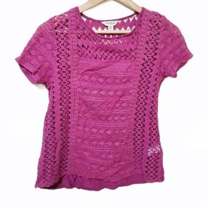Lucky Brand Crochet Front Magenta Top Size XS